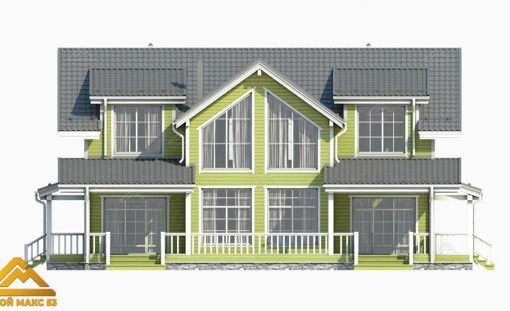 3-д визуализация двухэтажного финского дома 14 на 17