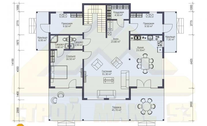 поэтажный план финского дома 14 на 17