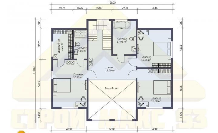 план второго этажа финского дома со вторым светом