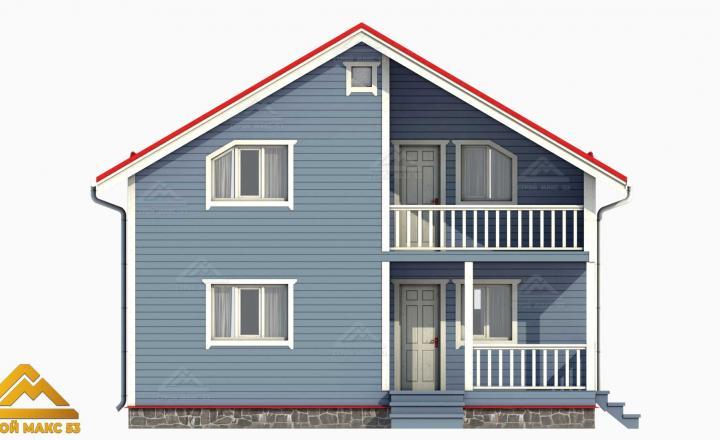 3-д модель финского дома голубой фасад