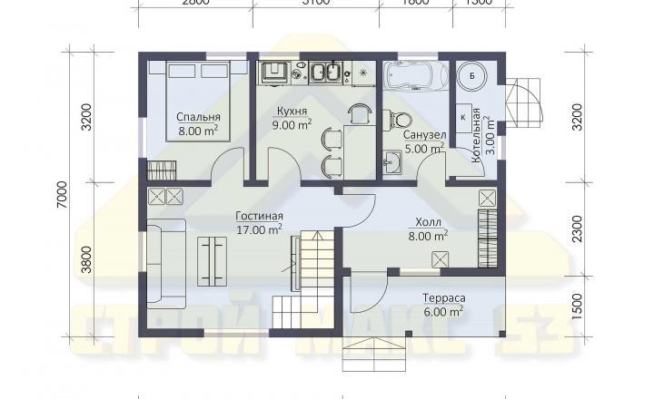 планировка финского дома 7х9