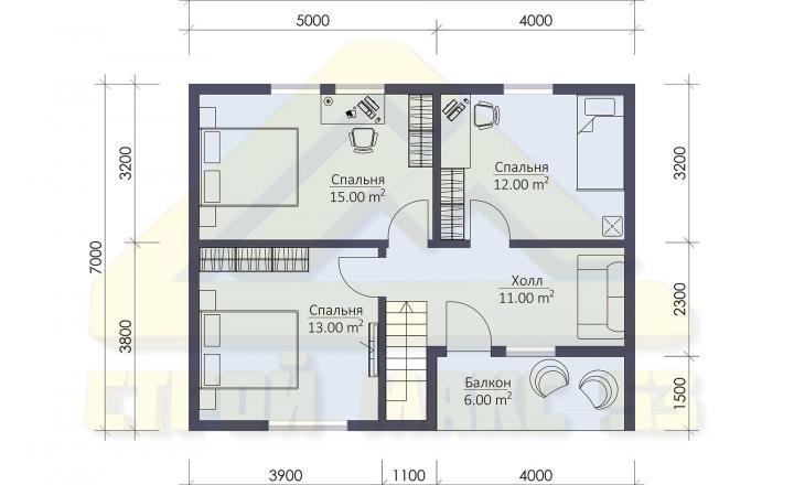 двухэтажный финский дом 7 на 9