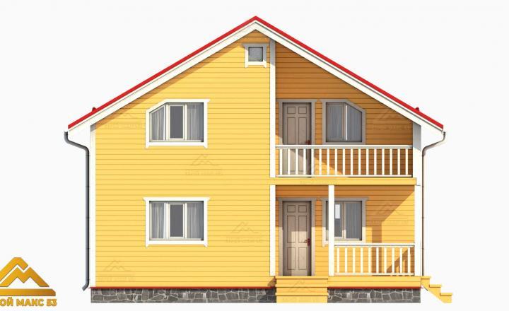 рендер фасада желтого цвета финского дома