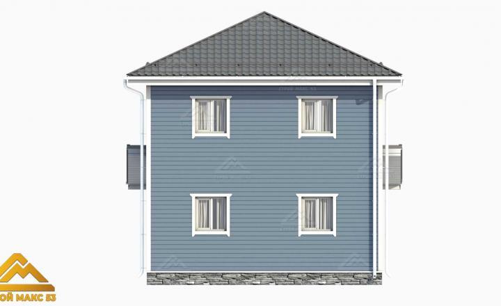 вид 3д финского двухэтажного дома сзади