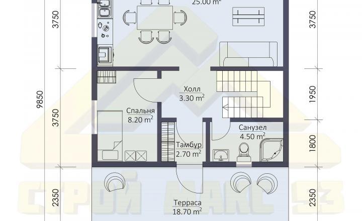 план первого этажа финского дома 7х10