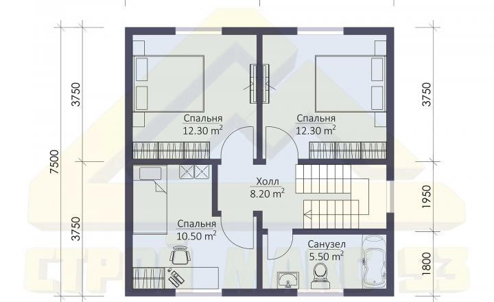 план второго этажа финского дома 7 на 10