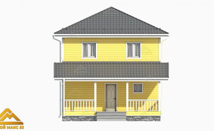 рендер фасада желтого цвета финского дома 7х10