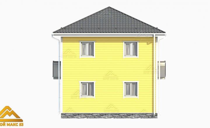 желтый фасад финский дом 3-д план вид сзади