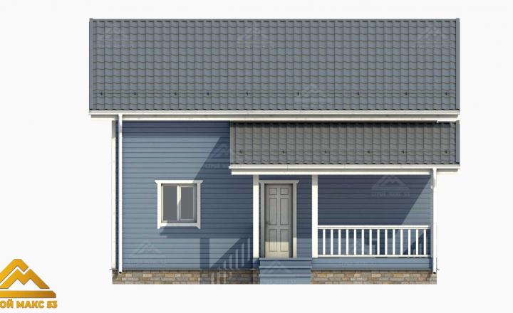 проект-графика фасад финского дома голубого цвета