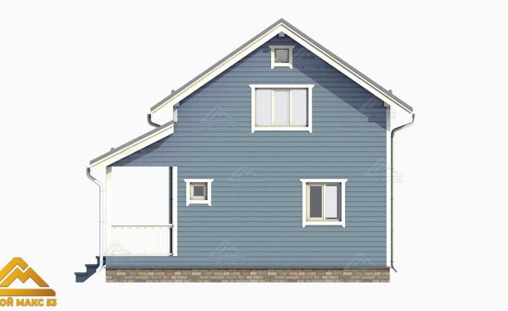 3D-проект голубой фасад финского дома 6х9  вид сбоку