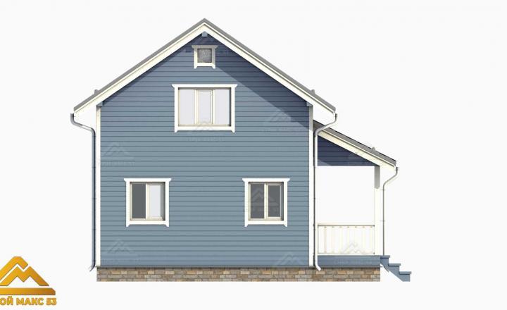 3D-рисунок финского дома с мансардой голубого цвета
