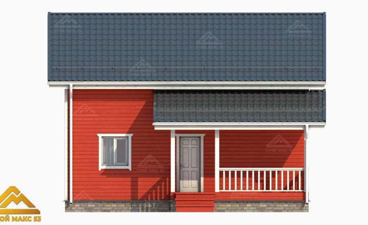 3-д проект фасада финского дома с террасой