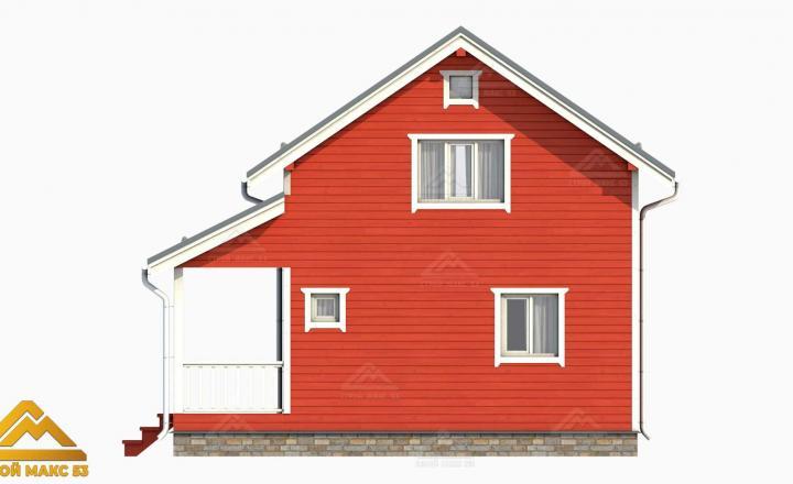 3-д рисунок фасада финского дома с мансардой сбоку