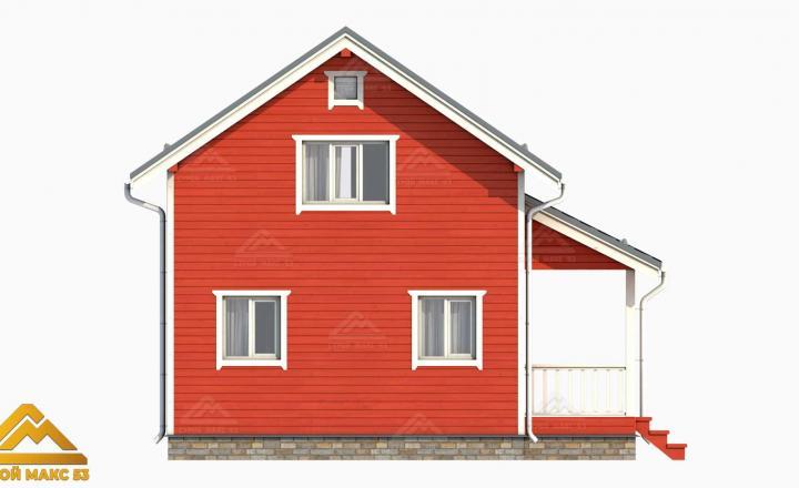 3-д модель фасада двухэтажного финского дома сбоку