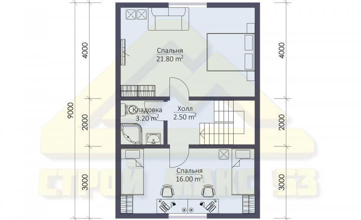 план второго этажа финского дома 6 на 9