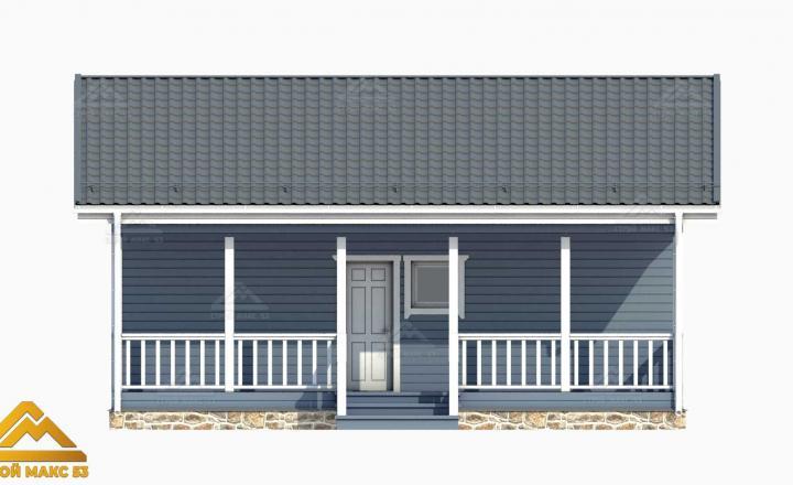 3-д модель фасада финского одноэтажного дома с террасой