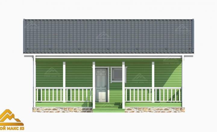 проект 3-д финский дом с террасой вид спереди
