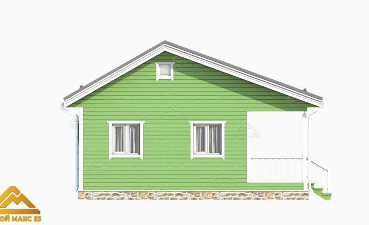 зеленый фасад финский дом 3-д план вид сбоку