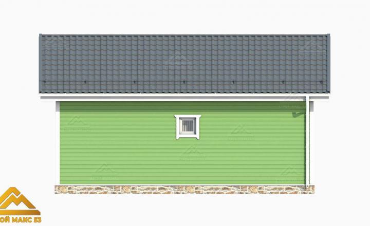 3D-рисунок финского дома с террасой зеленого цвета