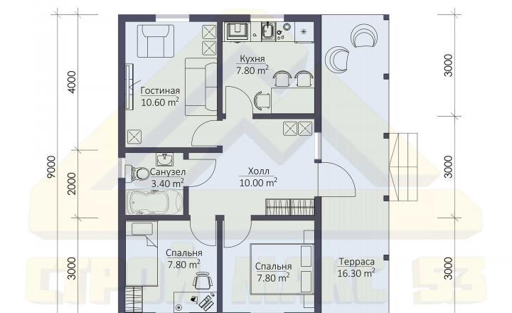 планировка одноэтажного финского дома 6х9 с террасой