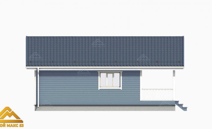 финский дом с террасой сбоку 3D-рисунок