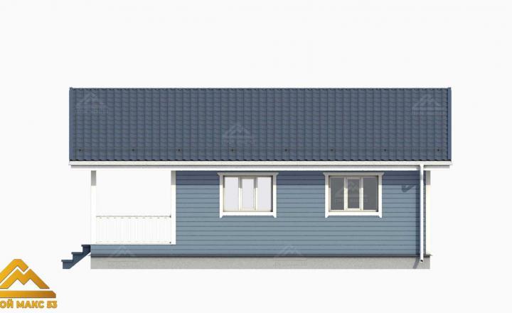 голубой фасад финский дом 9х10 3-д план вид сбоку
