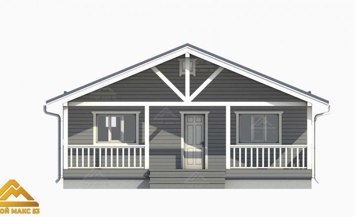 3-д модель фасада финского одноэтажного дома 9х10