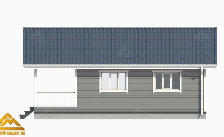3-Д проект финского дома с террасой сбоку