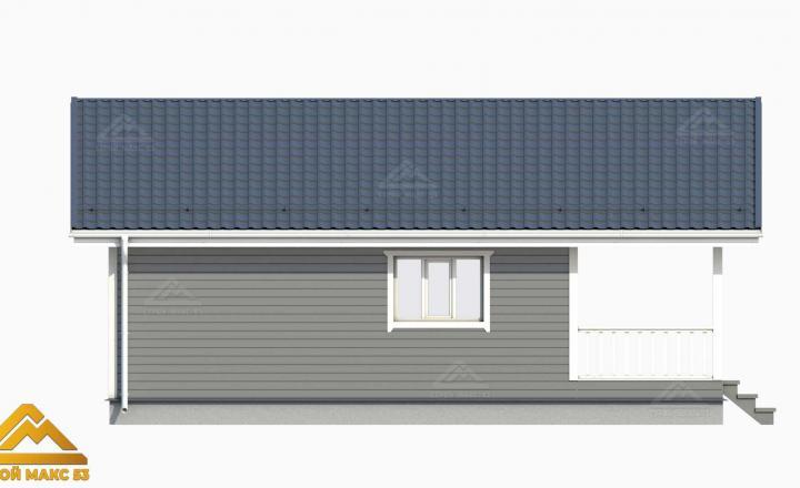 3-д рисунок фасада финского дома с террасой сбоку