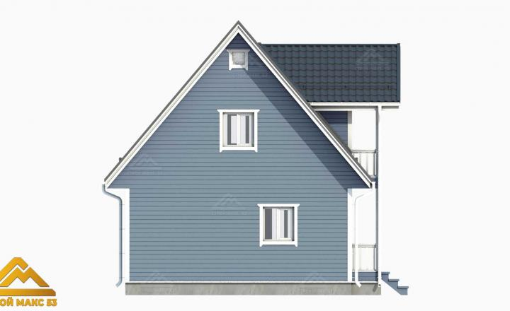 3д-модель фасада финского дома сбоку