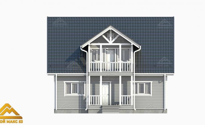 финский дом с балконом серого цвета