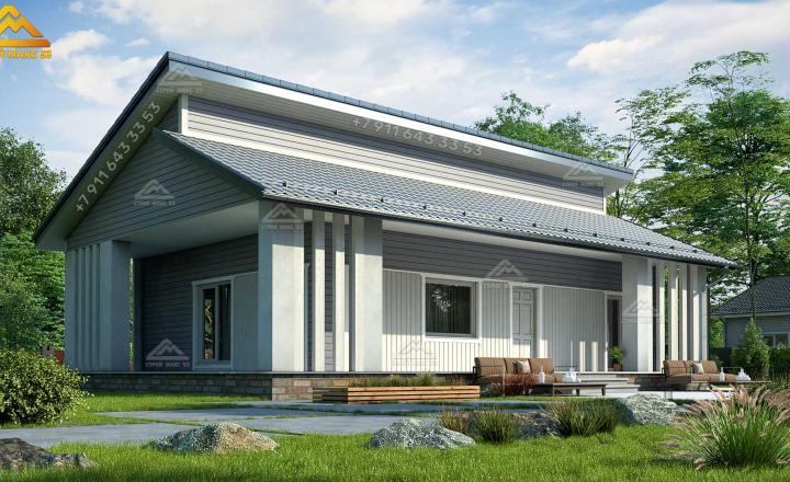 одноэтажный каркасный дом под ключ с асимметричной крышей