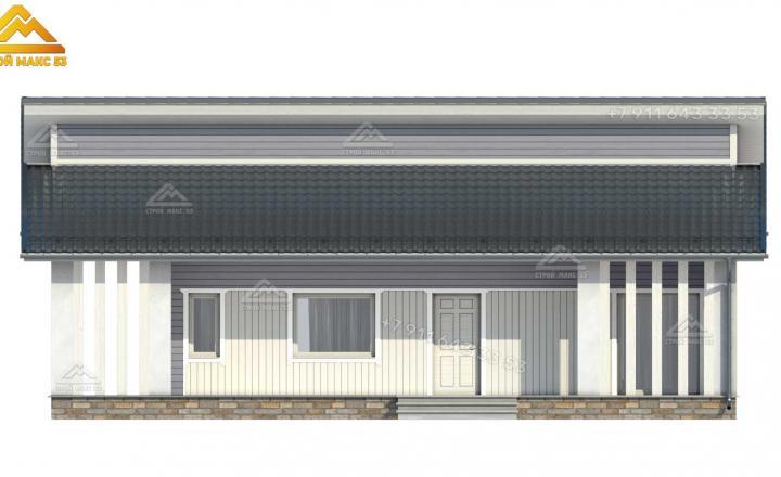 3-д проект одноэтажного каркасного дома под ключ со вторым светом вид спереди