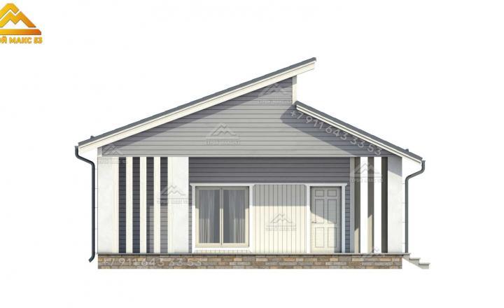 3-d изображение бокового фасада каркасного дома под ключ со вторым светом