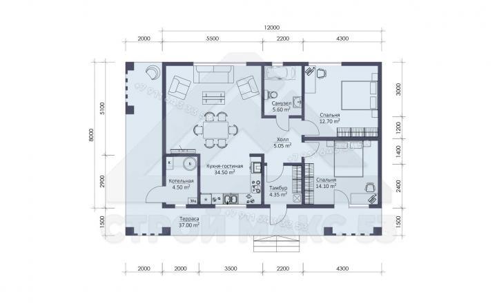 планировка одноэтажного каркасного дома в Санкт-Петербурге