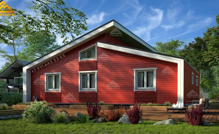 двухэтажный каркасный дом в Ленинградской области вид сзади
