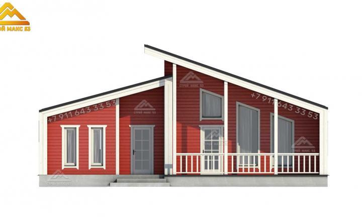 3-д проект фасада двухэтажного каркасного дома 13 на 11 м