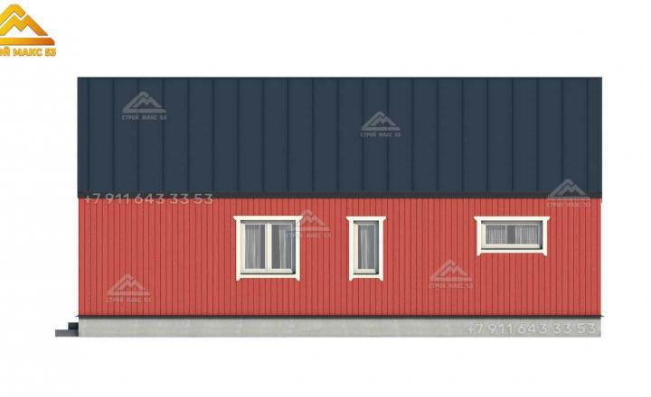 3-д визуализация бокового фасада финского каркасного дома в Ленинградской области