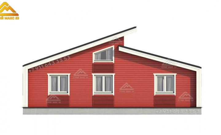 3-д эскиз фасада финского дома 12х10 в Ленинградской области вид сзади
