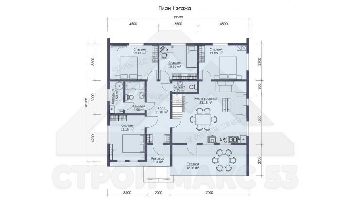 планировка первого этажа финского дома 12 на 10 в Ленинградской области