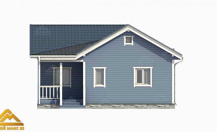 голубой фасад финский дом с террасой 3-д проект