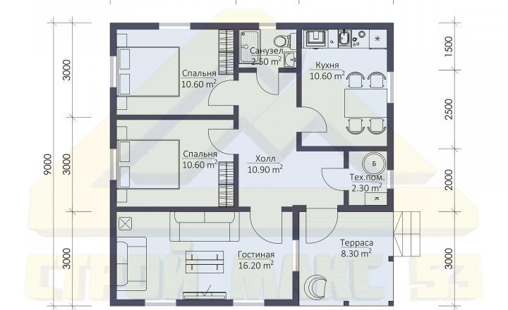 планировка этажа финского дома 9 на 9