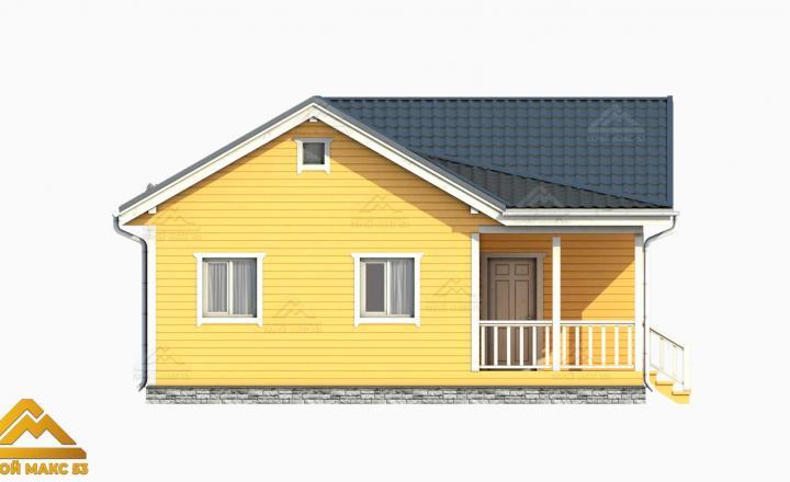 3-д модель фасада финского одноэтажного дома 9 на 9