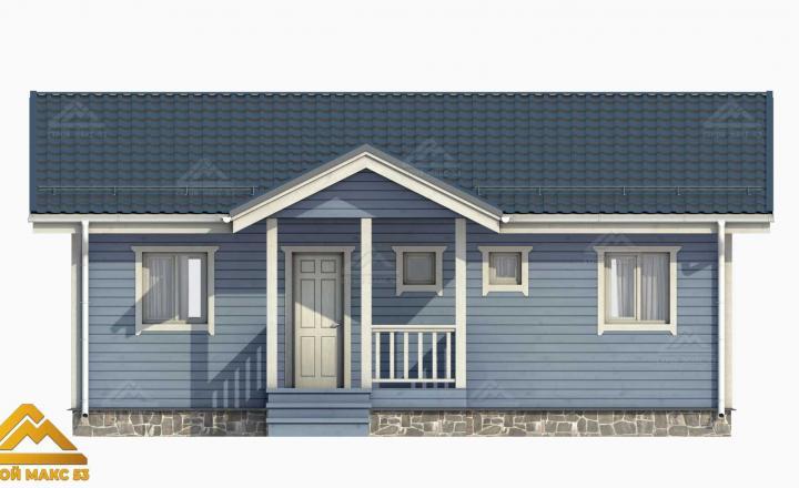 финский дом 10х8 голубой фасад 3-д