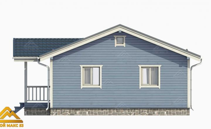 финский дом 10 на 8 с террасой 3D-рисунок