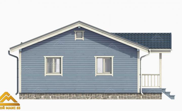 3д-проект финского дома серый фасад сбоку