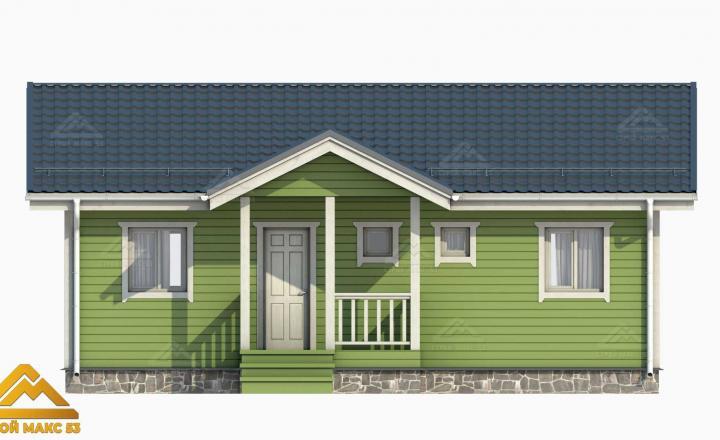 3-д модель фасада финского одноэтажного дома 10 на 8