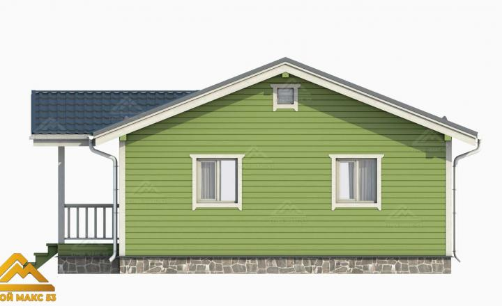 3-д модель финского дома зеленый фасад сбоку