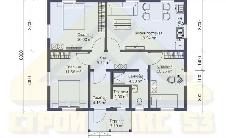 план одноэтажного финского дома