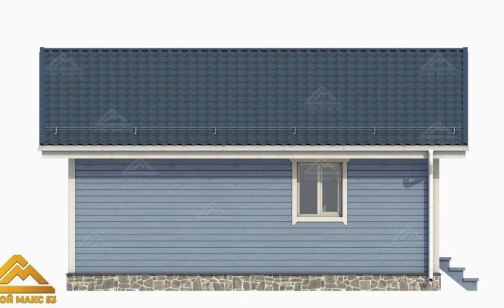 3-д рисунок фасада финского дома с сауной сбоку